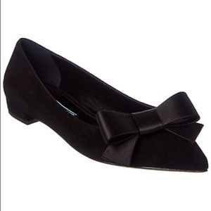 Prada Satin Bow Suede Pointy Toe Flats 37.5